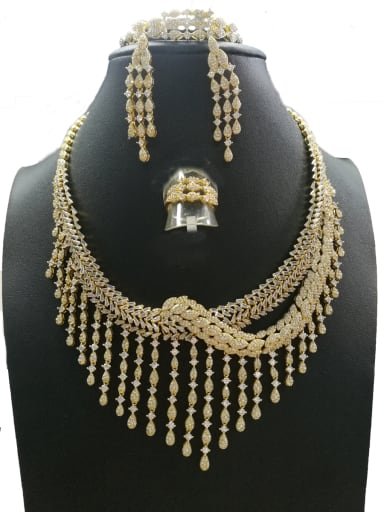 Copper With Gold Plated Fashion Fringe 4 Piece Jewelry Set