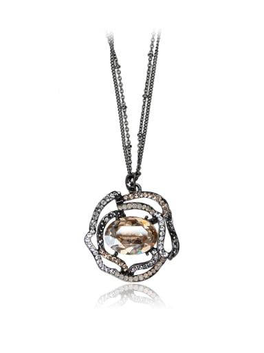 Hollow Rose Flower SWAROVSKI element crystal white ring necklace