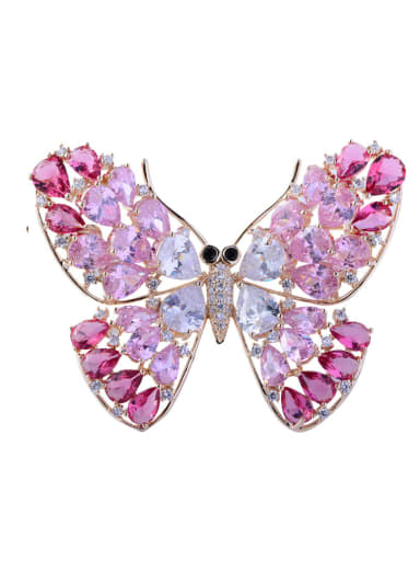 Copper With Cubic Zirconia Fashion Butterfly Brooches