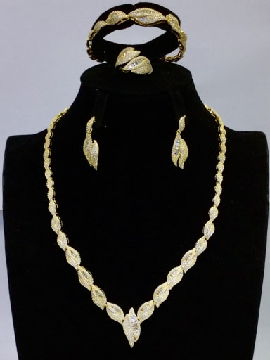 Copper With Gold Plated Fashion Leaf 4 Piece Jewelry Set