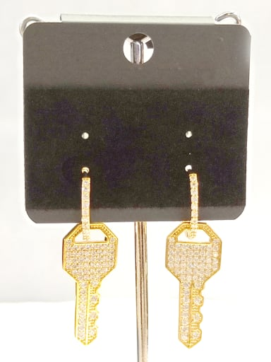 Copper With Gold Plated  Key Earrings