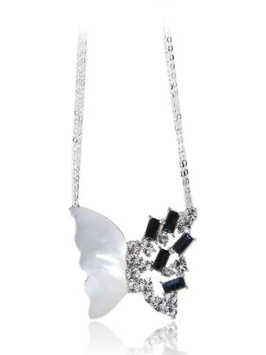 Deep sea shell butterfly Swarovski element crystal necklace