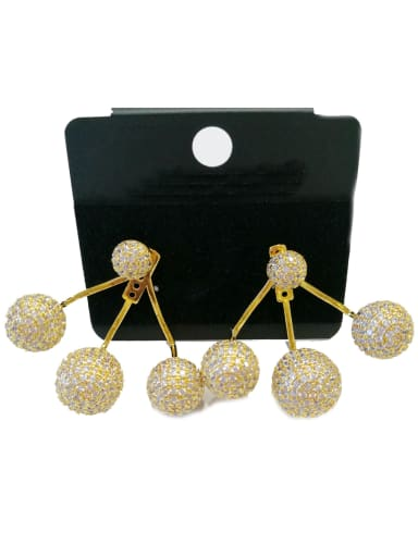 Copper With Gold Plated Fashion Ball Earrings