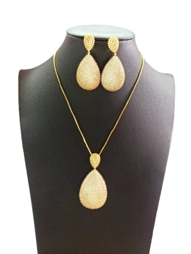 Copper With Gold Plated Simplistic Water Drop Jewelry Sets