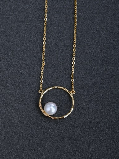 custom Simple round Imitation pearls 925 Silver Necklaces