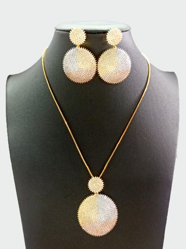 Copper With Mix Plated Exaggerated Round 2 Piece Jewelry Set