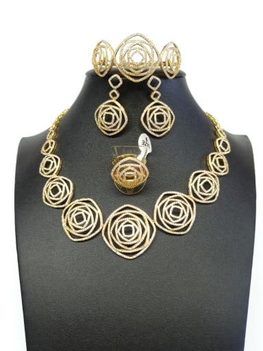 Copper With Gold Plated Trendy Square 4 Piece Jewelry Set