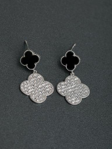 Micro inlay Zircon Lucky Clover Flower 925 silver Drop Earrings