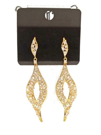 Copper With Gold Plated Trendy Leaf Earrings