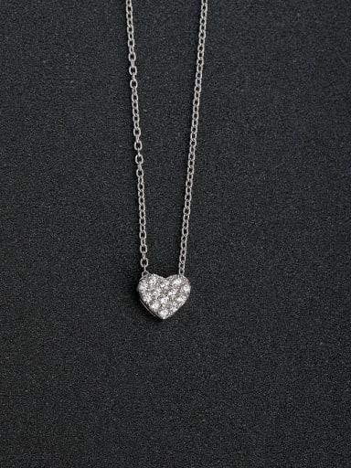 Micro inlay Zircon heart love 925 Silver Necklaces