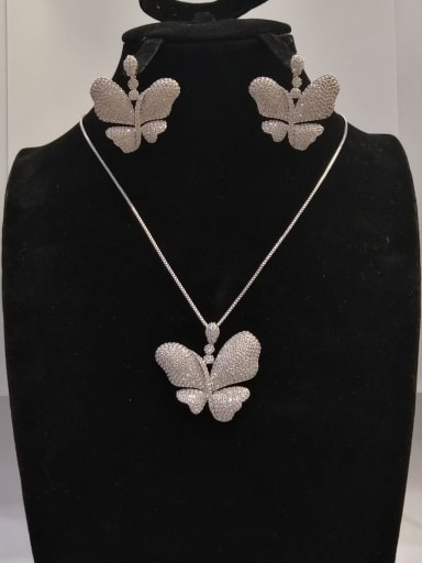 Copper With White Gold Plated Fashion Butterfly 2 Piece Jewelry Set