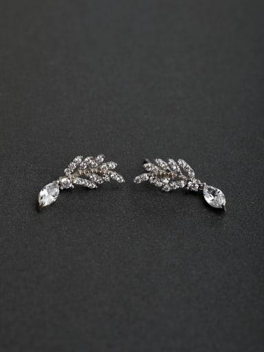 Inlaid Full drill Leaf 925 silver Drop Earrings
