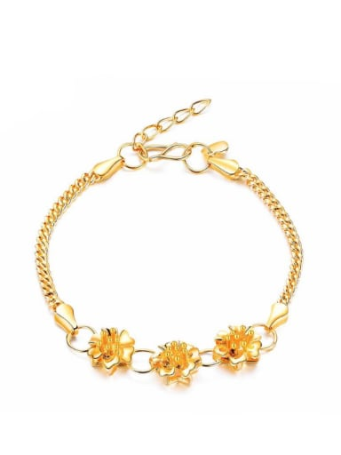 Copper With Gold Plated Delicate Flower Wedding Bracelets