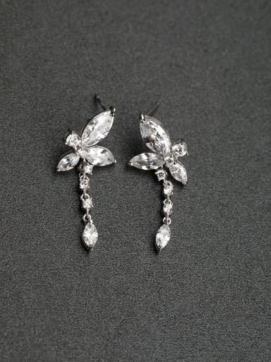 bowknot   Water drop  zircon   925 Silver   Earrings