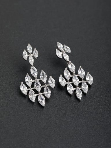 Zircon luxurious Horse Eye Stone 925 silver Drop Earrings