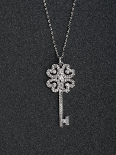 Transshipment four leaf revolving keys 925 silver necklaces