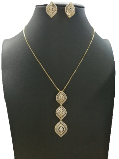 Copper With Gold Plated Trendy Leaf 2 Piece Jewelry Set