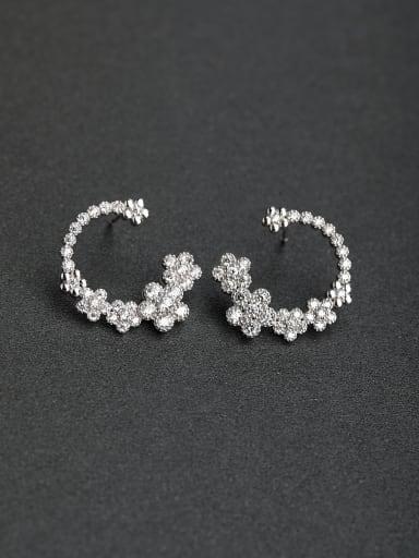 Luxury zircon flower 925 silver Stud earrings