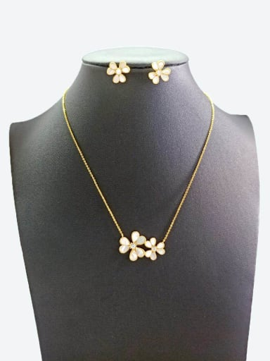 Copper With Gold Plated Simplistic Flower Jewelry Sets