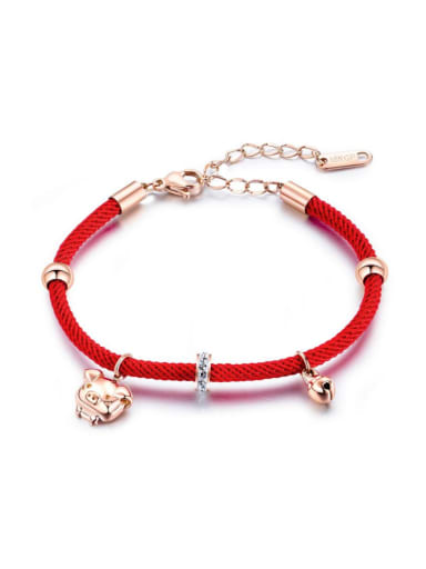 Stainless Steel With Rose Gold Plated Cute Pig Red rope Bracelets