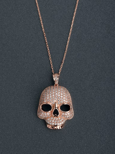 Gorgeous inlaid zircon Skull 925 Silver Necklaces