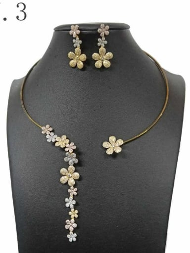 Copper With Gold Plated Delicate Flower 2 Piece Jewelry Set