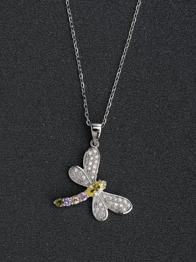 Miniature zircon crystal dragonfly 925 silver necklace