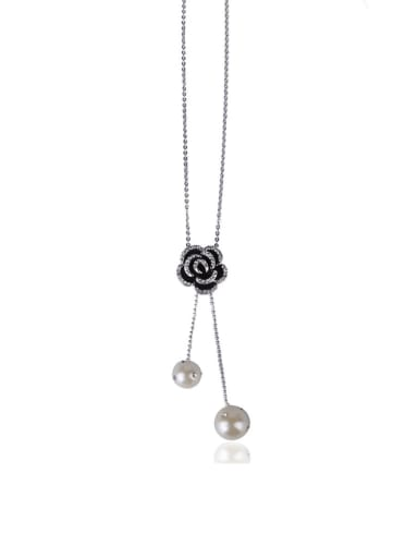 Flowers imitation pearl long necklace