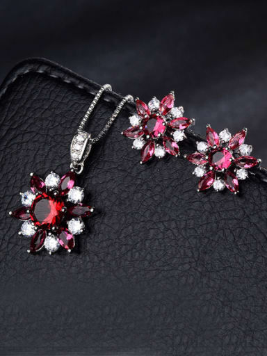 Copper With  Glass stone Fashion Flower 2 Piece Jewelry Set