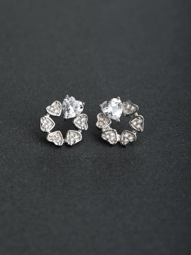 Micro inlay Zircon Heart flower 925 silver Stud earrings