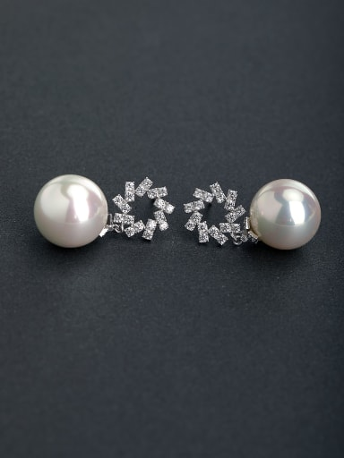 Micro inlay Rhinestone circular Imitation pearls 925 silver Stud earrings