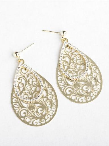 Hollow pattern Droplet type Rhinestone Chandelier Earrings