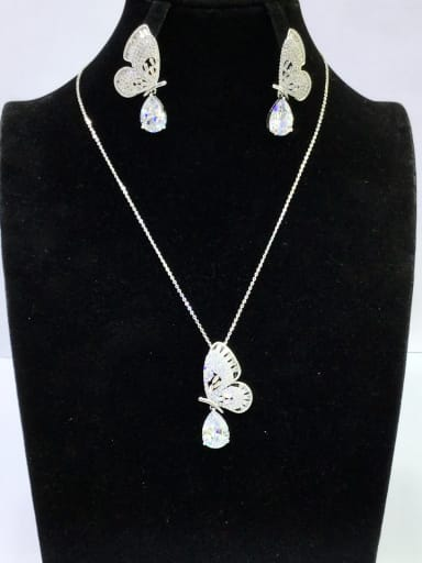 Copper With White Gold Plated Trendy Butterfly 2 Piece Jewelry Set