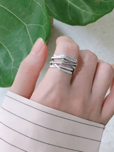 925 Sterling Silver With Antique Silver Plated Vintage Irregular Stacking  Free Size Rings