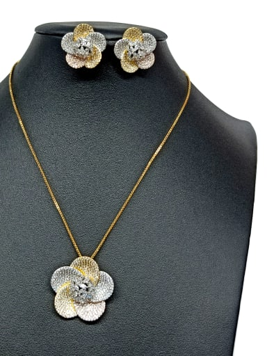 Copper With Mix Plated Fashion Flower 2 Piece Jewelry Set