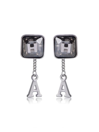 Square Crystal letter A Swarovski element crystal Earrings
