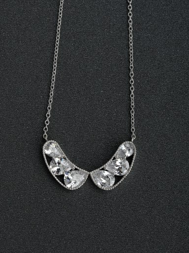 Inlaid Water drop crystal 925  Silver Necklace