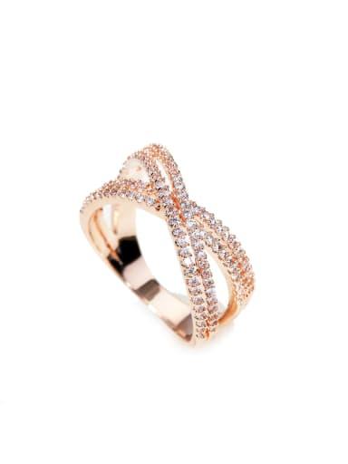 luxurious Micro-inlay Full Zircon Bling bling X cross ring