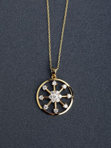 Micro inlay Zircon Fashion sunflower 925 Silver Necklaces