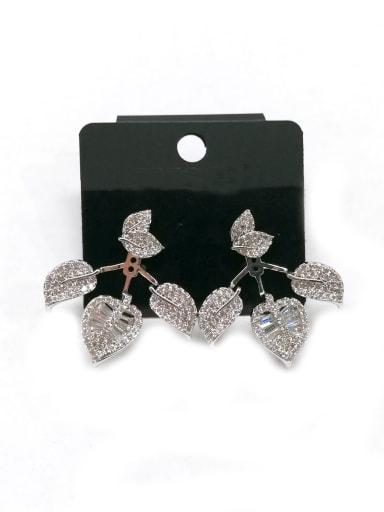 Copper With White Gold Plated Simplistic Leaf Earrings