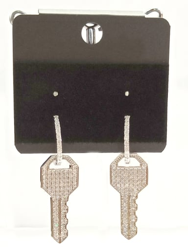 Copper With White Gold Plated Key Earrings