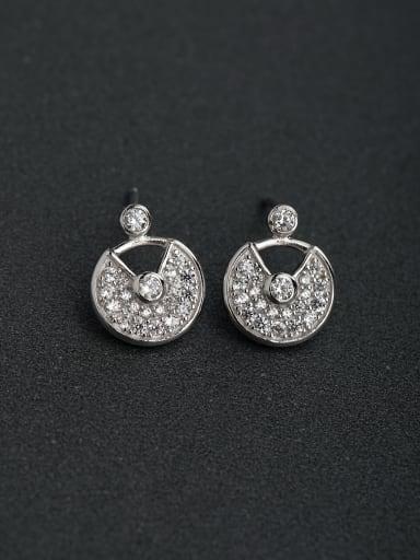Inlaid Sector Rhinestone  925 silver Stud earrings