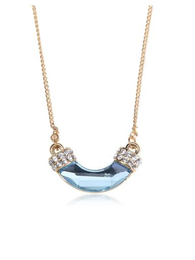 Lake blue unique arc Swarovski element crystal necklace