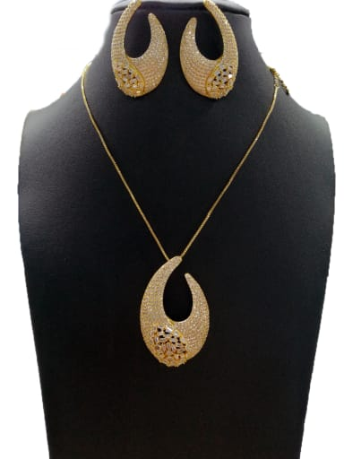 Copper With Gold Plated Classic Hook 2 Piece Jewelry Set