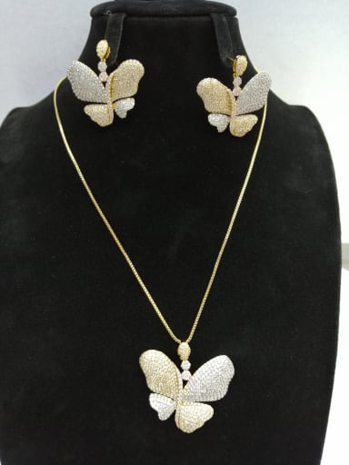 Copper With MIX Plated Fashion Butterfly 2 Piece Jewelry Set