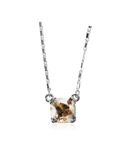 Single small square stone Swarovski element crystal necklace