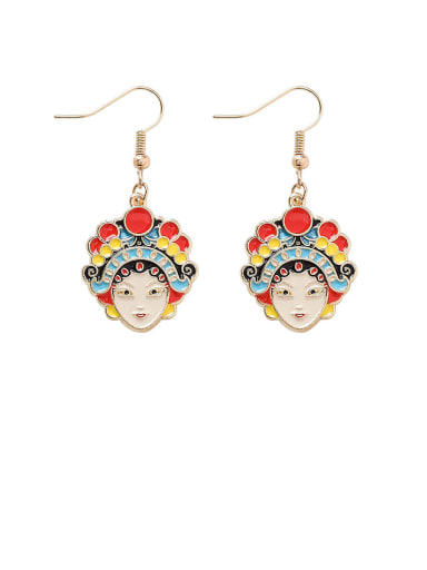 Alloy With Rose Gold Plated Hip Hop Face Hook Earrings