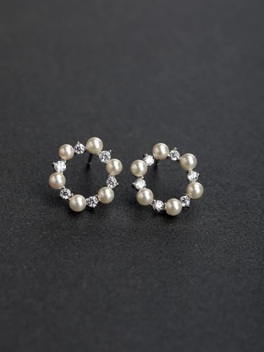 Millet beads Rhinestone Round delicate 925 silver Stud earrings