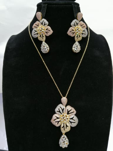 Copper With MIX Plated Trendy Flower 2 Piece Jewelry Set