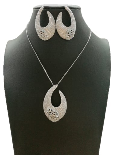 Copper With White Gold Plated Fashion Hook 2 Piece Jewelry Set